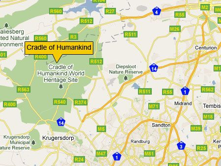 Location of Cradle of Humankind, Gauteng, South Africa