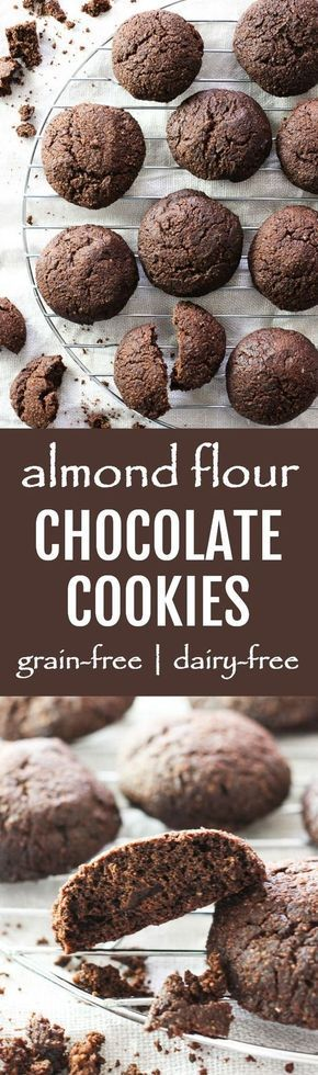These almond flour chocolate cookies are grain and dairy free. They are made with 100% pure dark chocolate. Gluten-free.