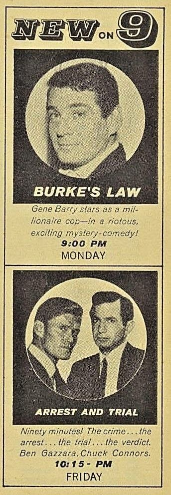 1963 BURKE'S LAW~ARREST & TRIAL~GENE BARRY~CHUCK CONNORS~ABC TV CH 9 TV AD