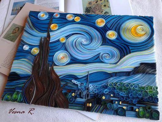 Van+Gogh+Starry+Night+In+Quilling+Technique+by+Vesna+Rikic.jpg (530×398)