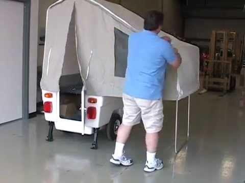Kompact Kamp Mini-Mate motorcycle camper trailer set-up - YouTube
