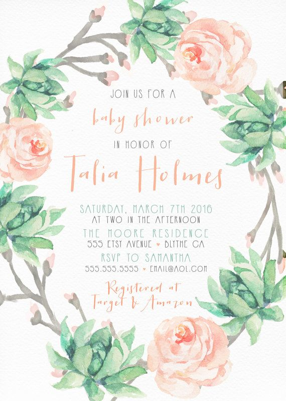 Pink and Mint Baby Shower Invitation, Girl, Printable Boho, Watercolor, Flower, Succulent [211]