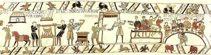 afbeelgingen middeleeuwse gerechten | Afbeelding: Willem de Veroveraar aan tafel (Tapijt van Bayeux, 11de ...
