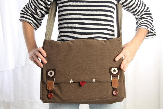 messenger bag with monster face in brown with green laptop messenger bag FREE SHIPPING