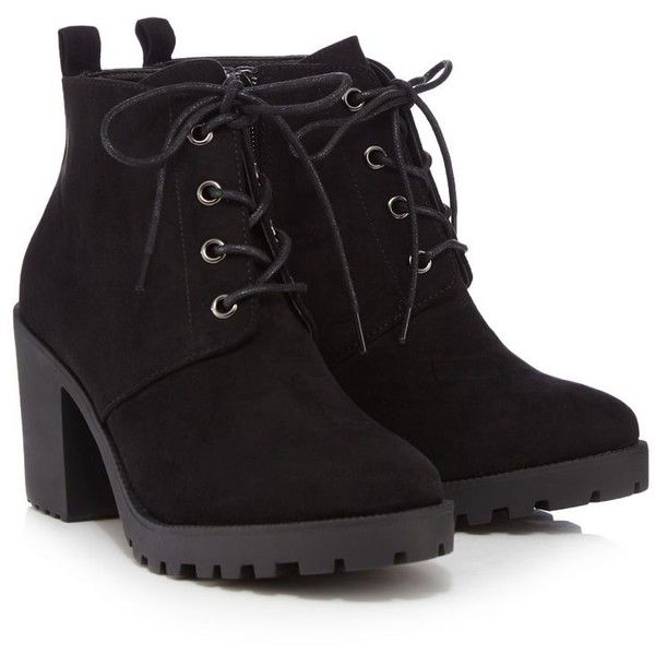 Red Herring Black lace-up block heel ankle boots (48 NZD) ❤ liked on Polyvore featuring shoes, boots, ankle booties, heels, black suede booties, short black boots, black suede bootie, lace up booties and ankle boots