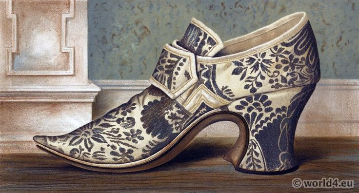 16th century Tudor high heel shoe style. EXCERPT: 'This shoe was worn with a large buckle, has an immense heel and pointed toe. It dates about the time of Queen Elizabeth I. Procured in the vicinity of Kenilworth.'
