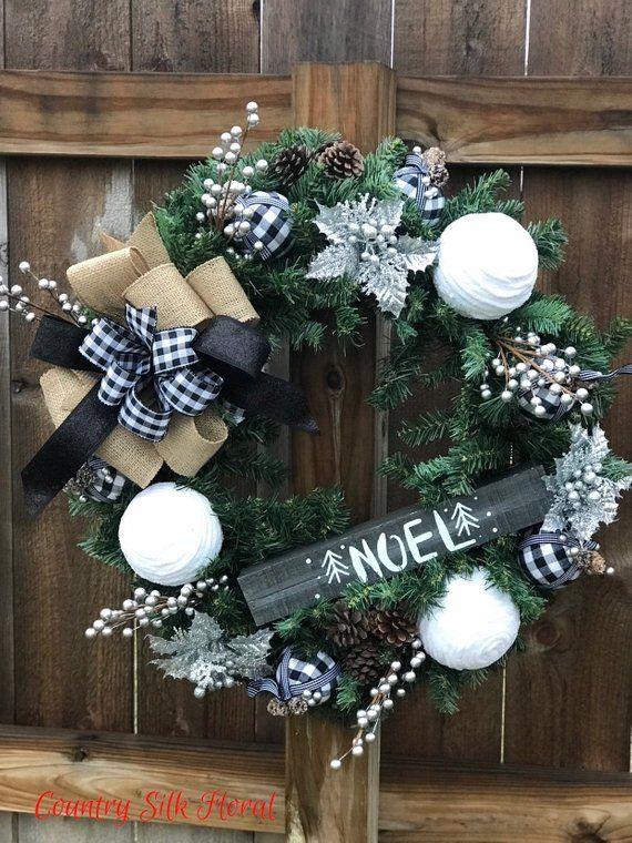 Black White Checkered Bow Wreath Farmhouse Wreath Christmas Wreath Holiday Decor White Christmas Wreath Gold Christmas Decorations Christmas Wreaths