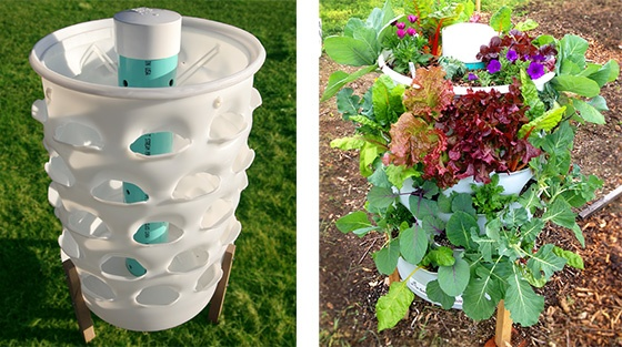 Garden tower composting 50 plants real food anywhere by garden tower project kickstarter - Garden tower vertical container garden ...