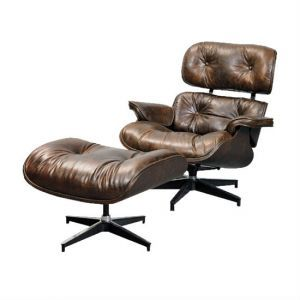 Vintage Leather Eames Chair with Footstool