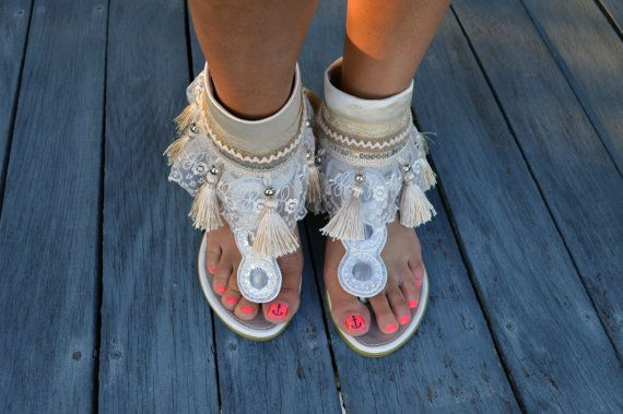 Ivory and lace wedding ankle cuffs barefoot sandals by Head2Heart