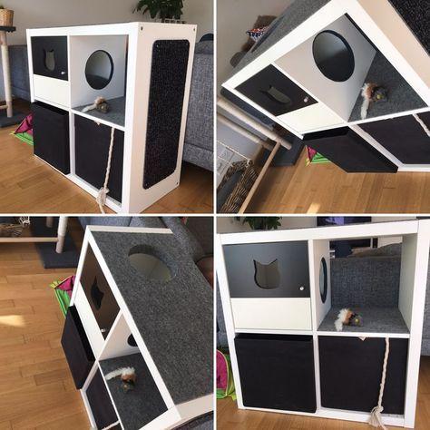 Aus IKEA Regal Kallax einen Kletterbaum für die Katze gebastelt…