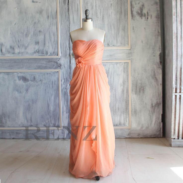 Peach Wedding dress Chiffon party dress Bridesmaid by RenzRags