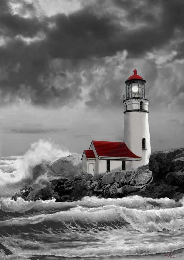 Painting - Oregon Lighthouse With Stormy Sea In Black Whiteand Red
