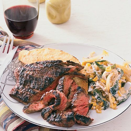 Skirt Steak with Creamed Corn and Poblanos   Food & Wine
