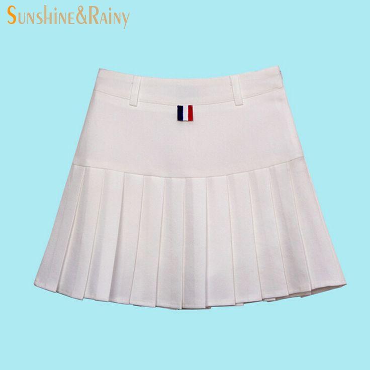 autumn summer brand girls pleated half skirts schoolgirls skirt uniforms cos candy color high  waist solid mini skirt female