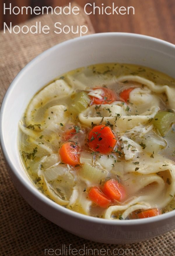 Delicious Chicken Noodle Soup with Homemade Noodles..the noodles are so simple they only take five minutes to make!!! | reallifedinner.com