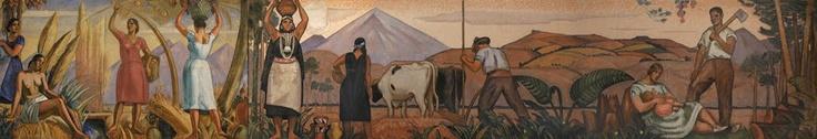 Mural de la Agricultura, creado para el Pabellón de Chile en la Exposición Iberoamericana de Sevilla de 1929. Laureano Ladrón de Guevara, colección Universidad de Talca.