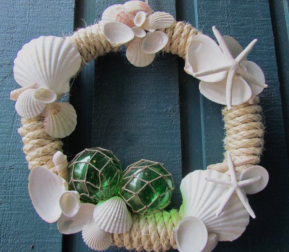 Coastal Wreath with Seashells Glass Floats and by HomeSweetCoast