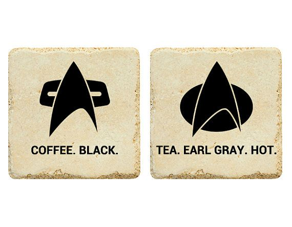 "Heh. Janeway and Picard. ""There's coffee in that nebula!"" ... Star Trek Drink Order Mini Set by jb2designs on Etsy, $10.00"