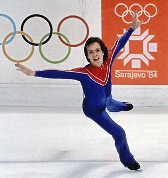 Scott Hamilton wins a gold medal at the 1984 Winter Olympics