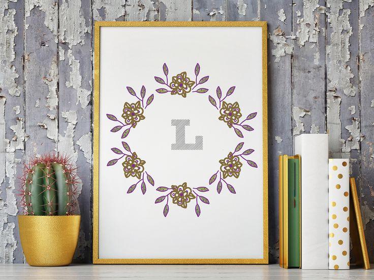 classy+L+monogram+in+wreathe+illustration