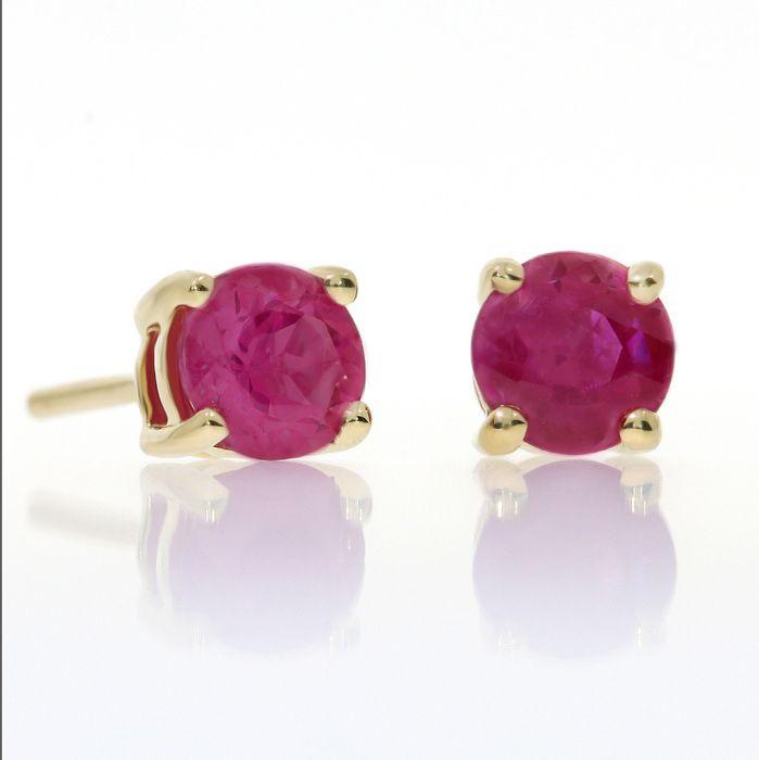 Ruby Stud Earrings in 14k Yellow Gold