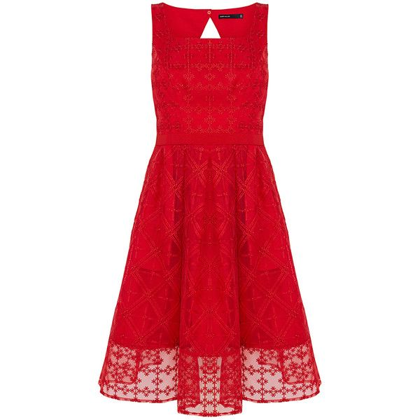 SheIn(sheinside) Red Spaghetti Strap Backless Embroidered Dress (£34) ❤ liked on Polyvore featuring dresses, red, red dress, knee-length dresses, a line cocktail dress, red cocktail dress, knee length cocktail dresses and sleeve dress