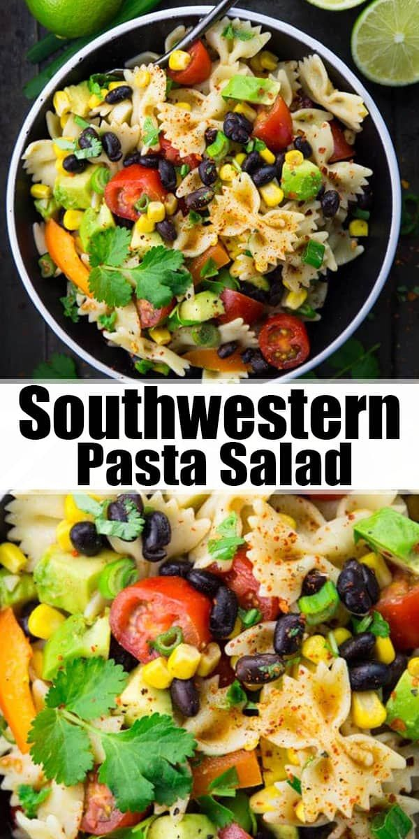 This Southwestern pasta salad with avocado, black beans, and lime dressing is my…