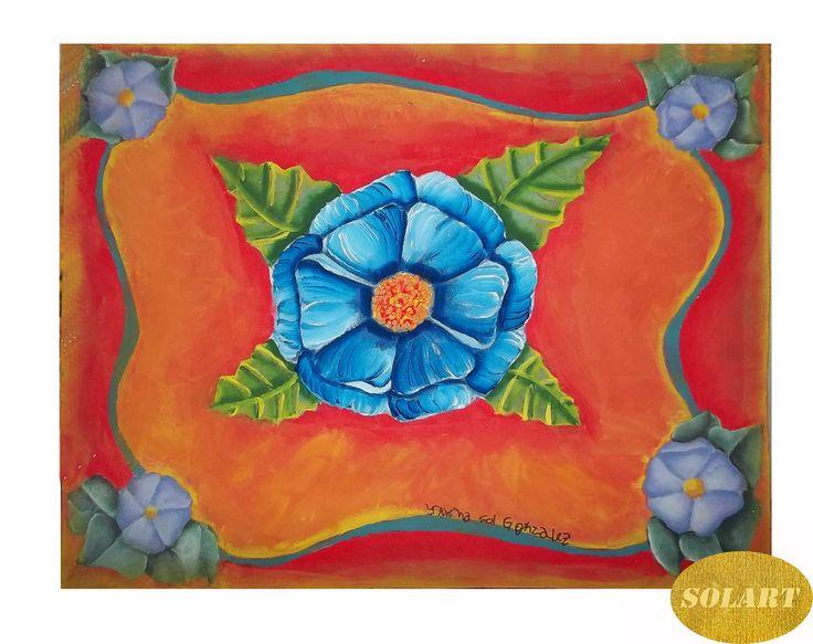 Flor central Azul