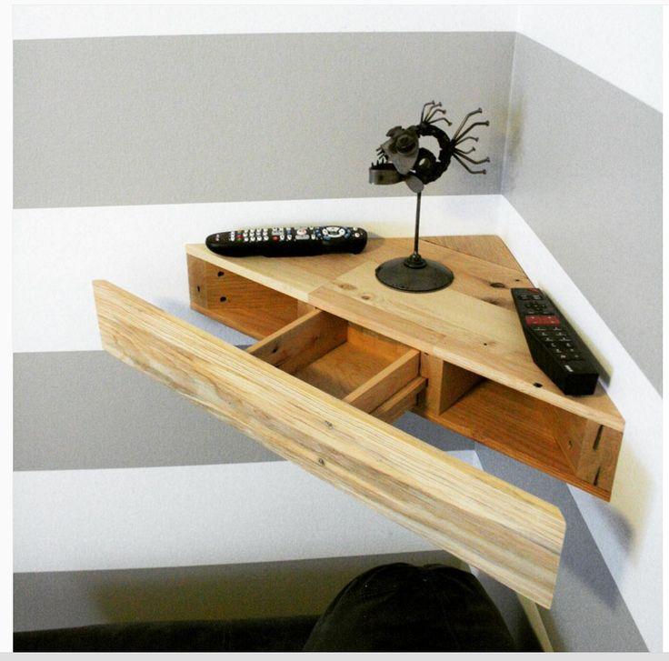 Upcycled corner floating shelf desk pallets upcycle for Pallet floating shelves