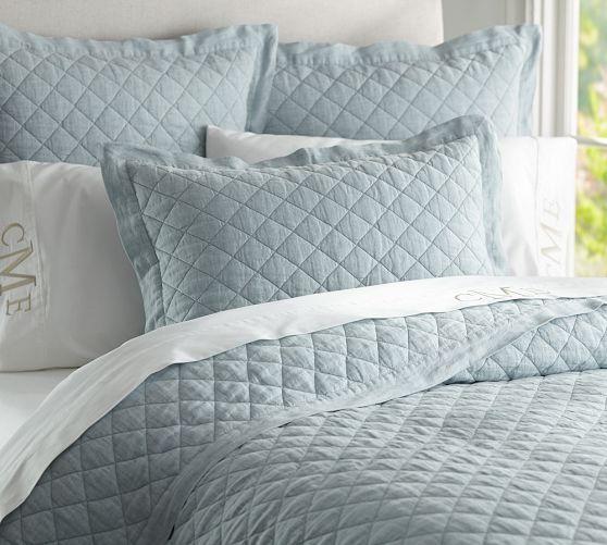 Belgian Linen Diamond Quilt & Shams in dark porcelain blue as a base for duvet set| Pottery Barn $300 for the quilt and $100 for two shams