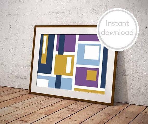 PRINTABLE ART, Geometric print for lounge, contemporary art blue purple white navy, modern graphic art, bedroom decor, purple wall art