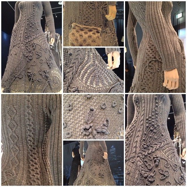 Knitspiration from Gaultier at @ngvmelbourne. Knitters, consider the #fringeandfriendsknitalong as your training wheels. Honeycomb swatch in 10ply Aran from @tonofwool. #jpgngv