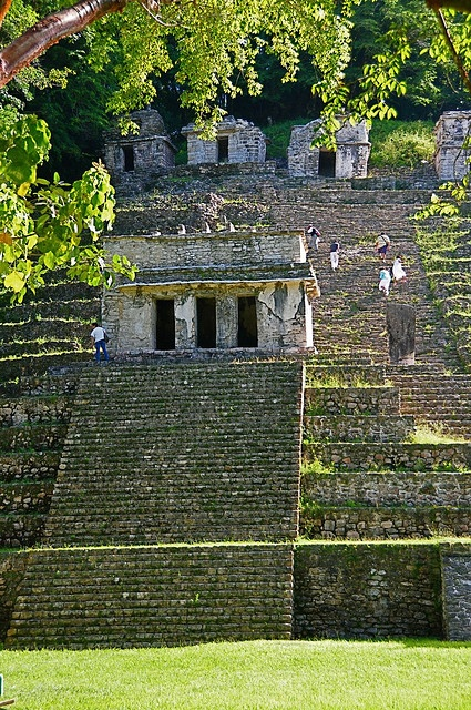 The Bonampak archaeological site, like most Mayan ruins, is hidden in jungle. It is near the Guatemalan border about 2 hours from Palenque.  Chiapas, Mexico.
