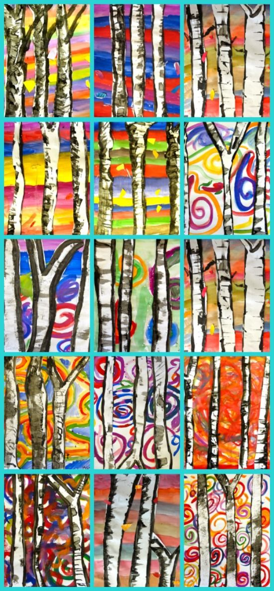 2nd and 3rd grade birch trees: Trees are painted on white paper and cut out then glued onto painted background