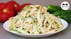 Салат курица, омлет, огурцы или кукуруза