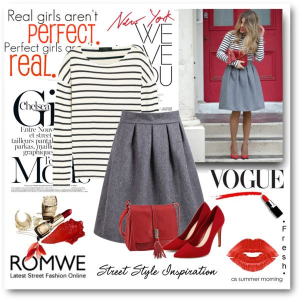 High Waist Wine Grey Skirt by bmaroso on Polyvore featuring мода, J.Crew, Manic Panic NYC, StreetStyle, red, stripes and romwe