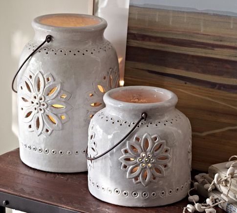 pottery barn punched ceramic lantern | Visit potterybarn.com