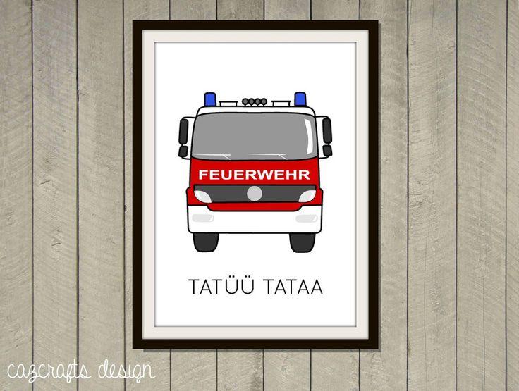 Poster+Feuerwehr+A4+fürs+Kinderzimmer+von+cazcrafts+design+auf+DaWanda.com