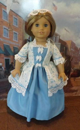 1770's Visiting Gown and Pinner Cap for American Girl Felicity and Elizabeth | eBay