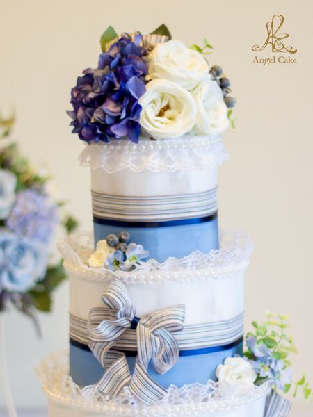 Angel Cake人気のダイパーケーキ ブルーの3段エンジェルシャワーケーキ    #ダイパーケーキ#diapercake#おむつケーキ #オムツケーキ #ベイビーシャワー #エンジェルケーキ#AngelCake#babyshower #出産祝い