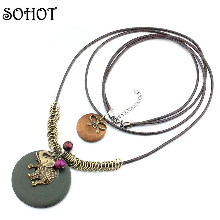 SOHOT Cute Elephant Knot Beads Charms Wood Pendant Long Necklaces Layers Leather Rope Bohemian Costume Bijoux Women Jewelry Gift