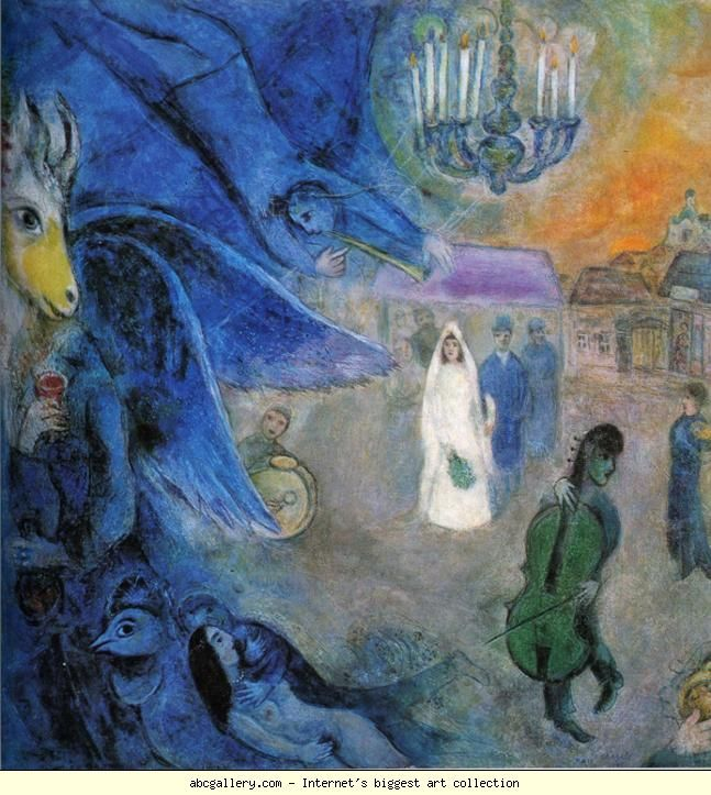 Marc Chagall. The Wedding Candles. (Les lumières du mariage). Olga's Gallery.