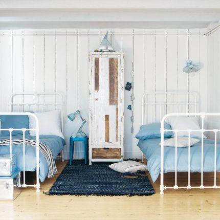 chambre bleu et blanche, chambre garçon, chambre maisons du monde, chambre marin