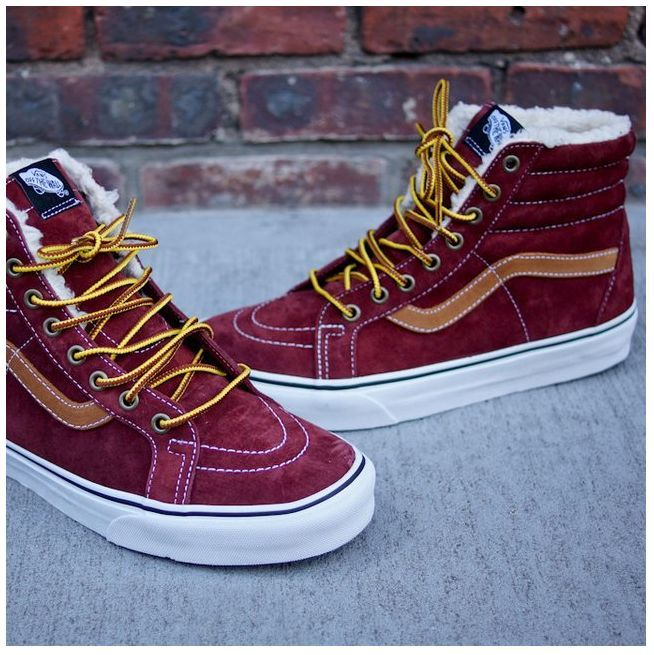 Image result for burgundy gold vans high tops