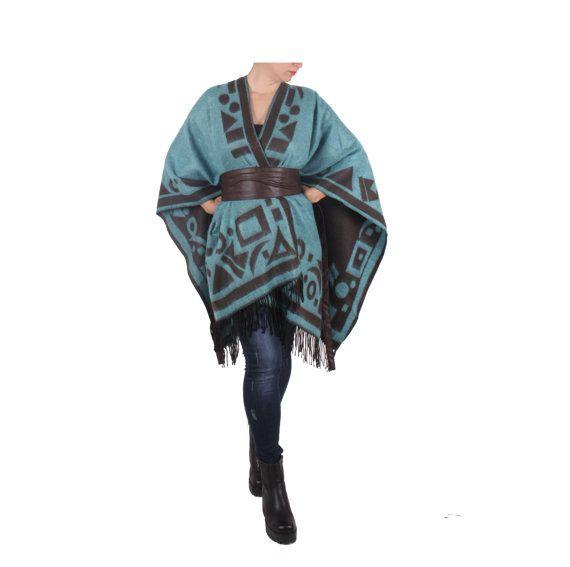 Women Oversize Turquoise Boho Poncho Tribal Outerwear Stylish Aztec Women Hoodies Wraps Shawl Pullover Sweater Cotton Cape Oversize Clothing