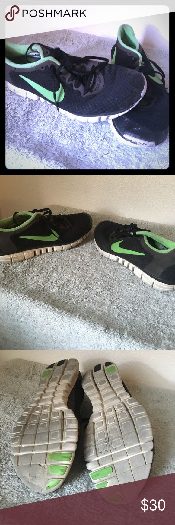 Nike free 3.0 size 9.5 Nike Frees 3.0 series black with green Nike swoosh! They are amazing size 9.5 Nike Shoes Sneakers