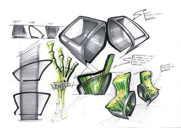 bamboo chair sketches by Natalia Tofas, via Behance