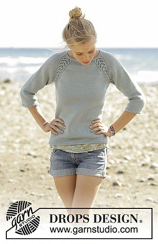 Knitted jumper with raglan and lace pattern, worked top down in DROPS Merino Extra Fine. Sizes S - XXXL.