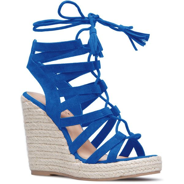 ShoeDazzle Wedge Anabella Womens Blue ❤ liked on Polyvore featuring shoes, sandals, blue, wedges, wedge sandals, tassel sandals, blue espadrilles, laced sandals and wedge heel sandals